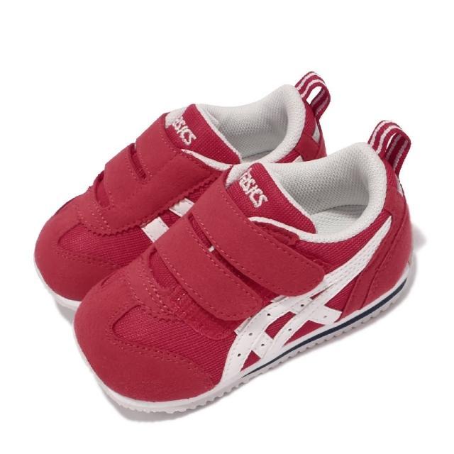 【asics 亞瑟士】休閒鞋 Idaho Baby JP 童鞋 亞瑟士 魔鬼氈 麂皮 日本布料 小童 紅 白(TUB164600)