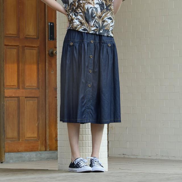 【KiKi】鬆緊帶腰頭排釦細褶裙-女長裙 素色 藍(藍色/版型合身)