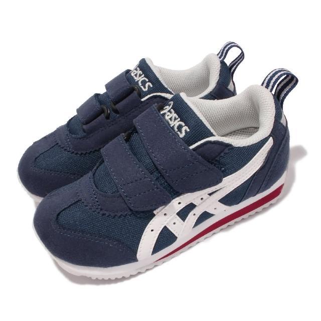 【asics 亞瑟士】休閒鞋 Idaho Mini JP 童鞋 亞瑟士 魔鬼氈 麂皮 日本布料 中童 藍 白(TUM1855001)