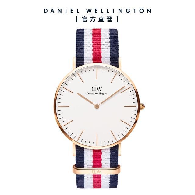 【Daniel Wellington】官方直營 Classic Canterbury 40mm細紋藍白紅織紋錶(DW手錶 DW00100002)