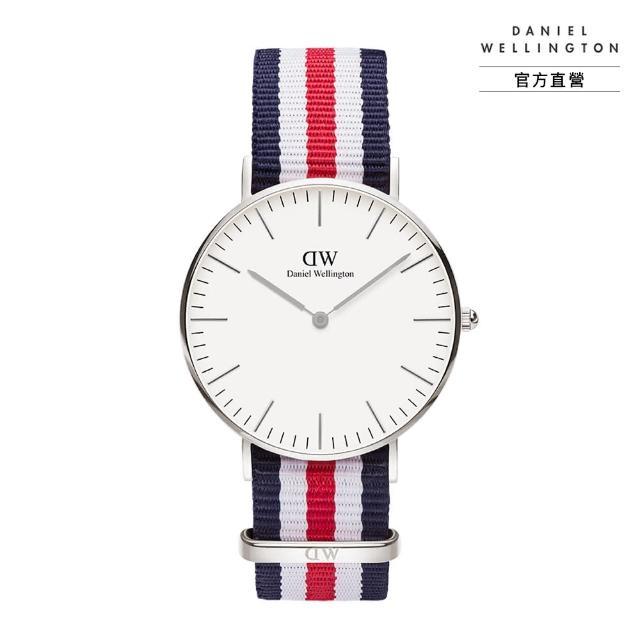 【Daniel Wellington】官方直營 Classic Canterbury 36mm細紋藍白紅織紋錶(DW手錶 DW00100051)