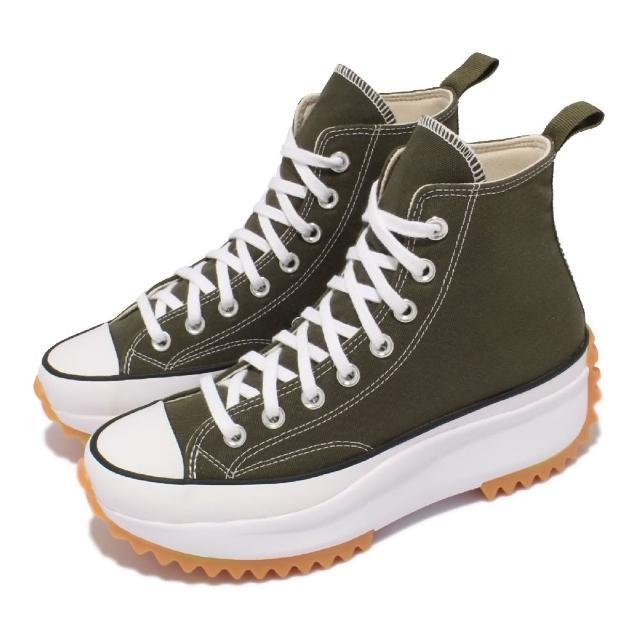 【CONVERSE】休閒鞋 Run Star Hike 厚底 男女鞋 經典款 帆布 增高 情侶穿搭 球鞋 綠 白(171667C)