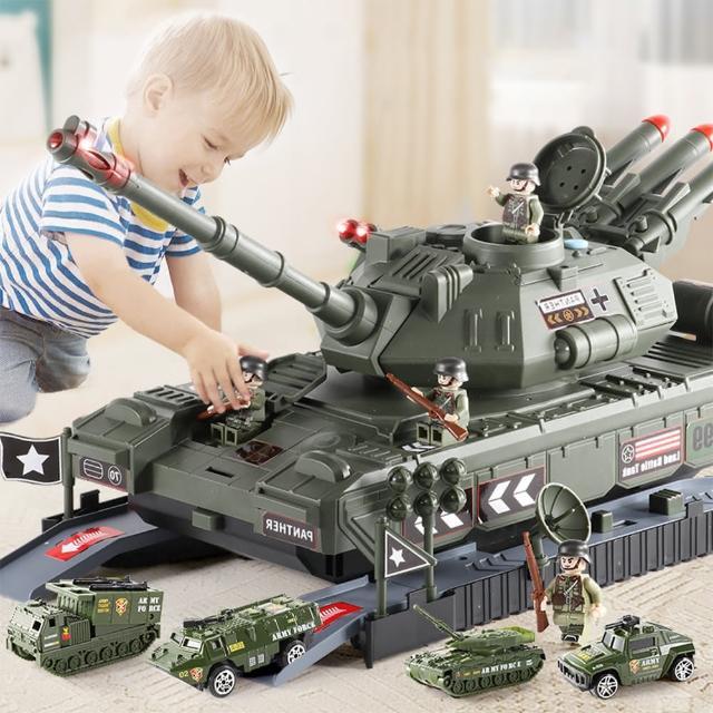 【ego life】新款可收納軍事坦克模型 兒童聲光故事多功能玩具車