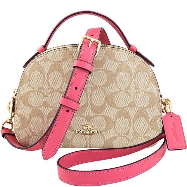 【COACH】大C PVC雙層手提/斜背兩用包-粉紅色(買就送璀璨水晶觸控筆)