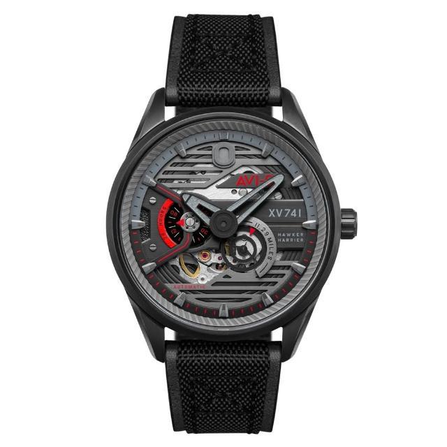 【AVI-8】飛行錶 HAWKER HUNTER 帥氣機械錶(黑灰 AIAV407403)