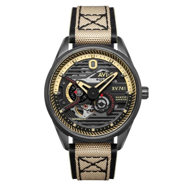 【AVI-8】飛行錶 HAWKER HUNTER 帥氣機械錶(黑金 AIAV407402)