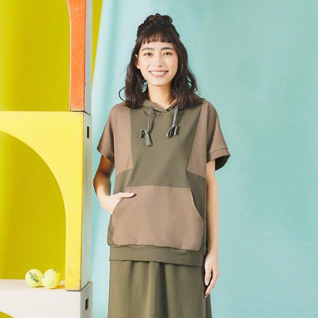 【Dailo】運動風拼接連帽-女短袖上衣 藍 綠 黑(三色/魅力商品/版型合身)