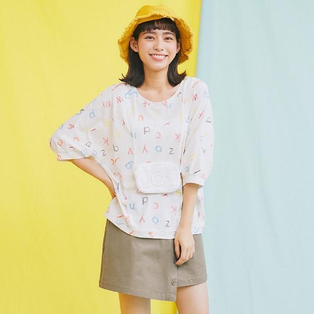 【Dailo】立體相機包上衣-女八分袖 印花 白 粉 黃(三色/版型合身)