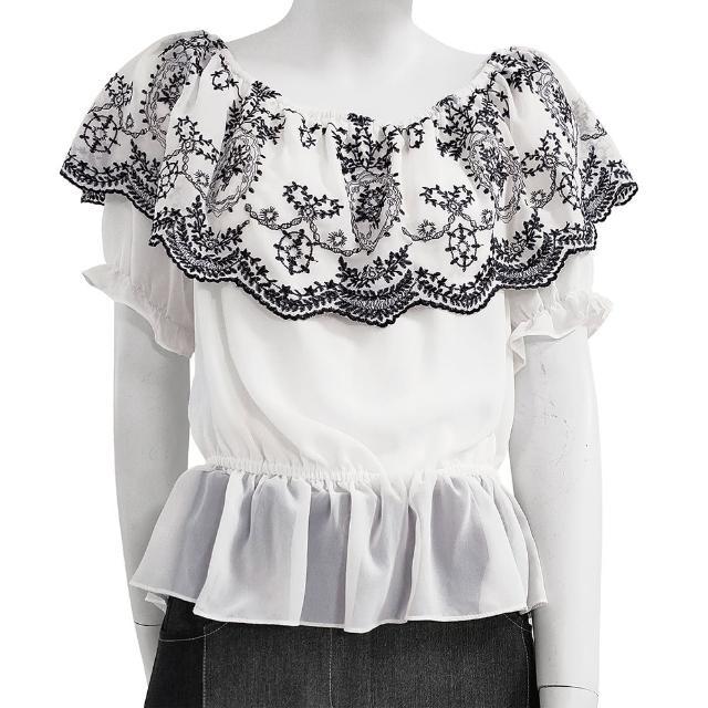 【SHOWCASE】甜美刺繡翻領彈性收腰短袖 雪紡 上衣(白色)