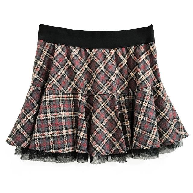 【SHOWCASE】俏麗鬆緊帶斜格紋網紗層次短裙(灰色)