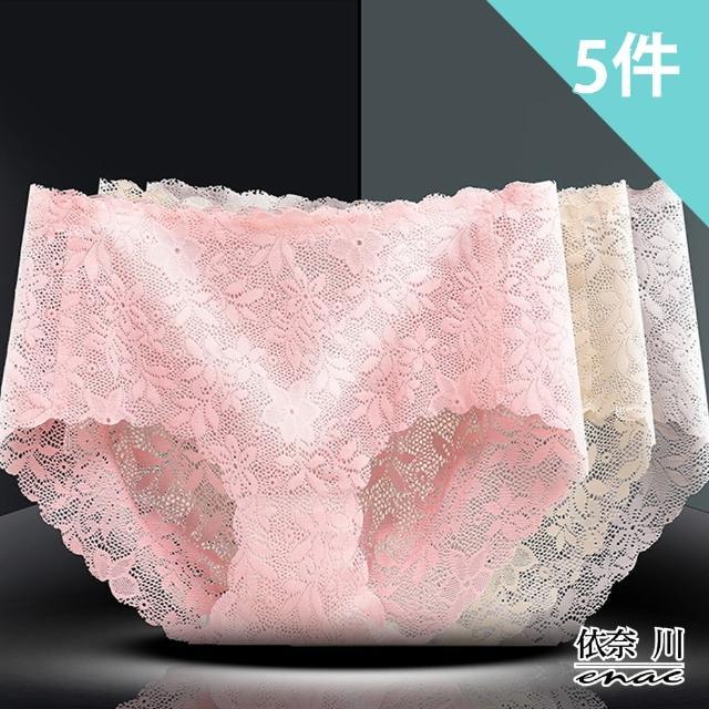 【enac 依奈川】性感誘惑蕾絲石墨烯抑菌中腰內褲(超值5件組-隨機)