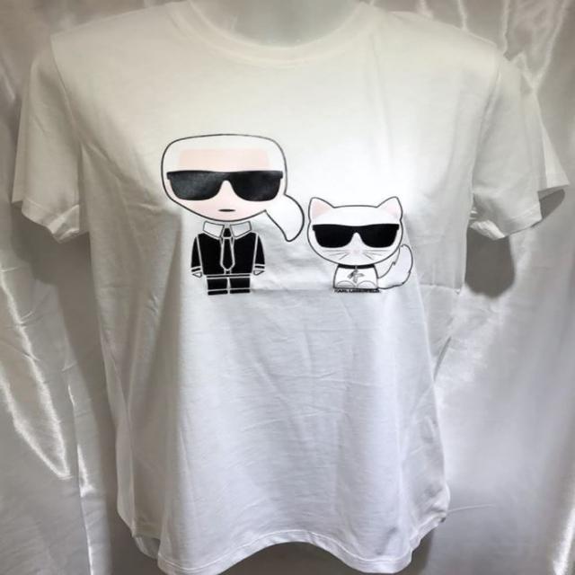 【KARL LAGERFELD 卡爾】女款 卡爾 & 丘比特貓咪 白色T恤(S號、M號)