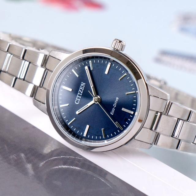 【CITIZEN 星辰】女神氣息光動能不鏽鋼腕錶/銀x藍面(EM0930-58L)
