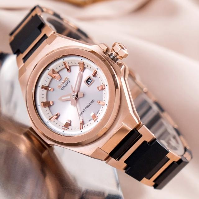 【CASIO 卡西歐】BABY-G 極致優雅太陽能輕量化不鏽鋼橡膠腕錶/黑x玫瑰金框(MSG-S500CG-1ADR)