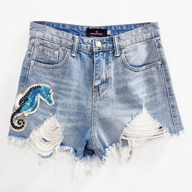 【SHOWCASE】率性刷破襬海馬亮片造型牛仔短褲(藍色)