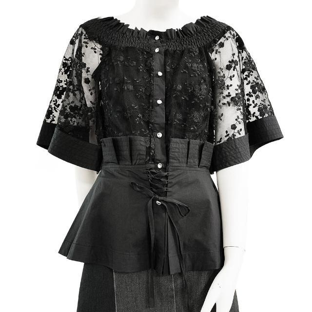【SHOWCASE】名媛彈性一字領唯美繡花收腰五分袖蕾絲襯衫(黑色)