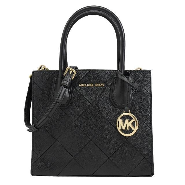 【Michael Kors】圓標MK吊飾菱格紋全皮革手提兩用包(黑)