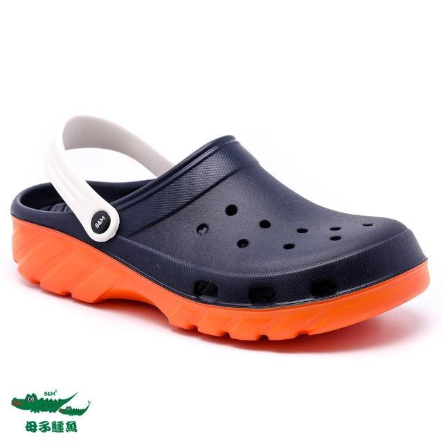 【母子鱷魚】兩穿式水陸雙色洞洞鞋-藍