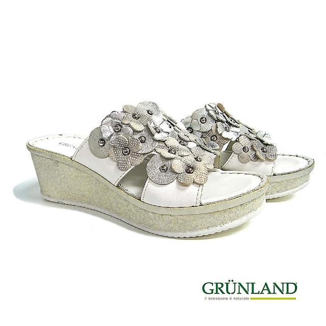 【GRUNLAND】義大利真皮立體花飾厚底彈力休閒拖鞋 銀花白(義大利進口健康舒適鞋)