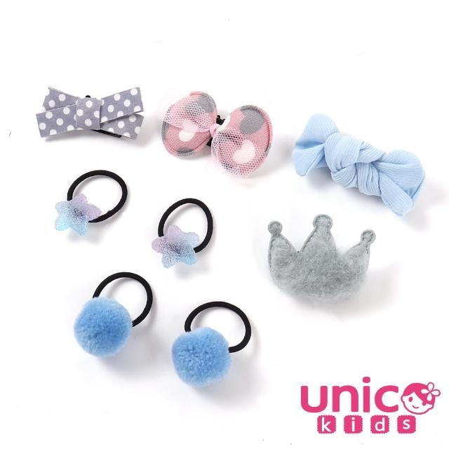 【UNICO】嬰兒少髮量寶寶俏皮藍蝴蝶結球球造型汗毛夾髮夾髮圈/髮飾(飾品/配件/藍蝴蝶結/球球造型)