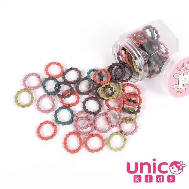 【UNICO】兒童少髮量甜甜百搭100條罐裝髮圈-韓系柔美風(配件/髮飾/Baby)