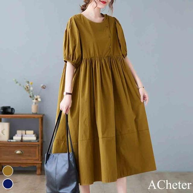 【ACheter】韓佳人時尚寬鬆棉麻大碼洋裝#110041現貨+預購(2色)