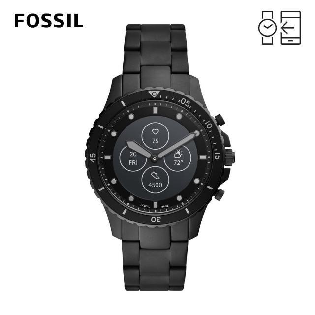 【FOSSIL】Hybrid HR 心律智能手錶 FB-01 黑色不鏽鋼鍊帶 44mm FTW7017