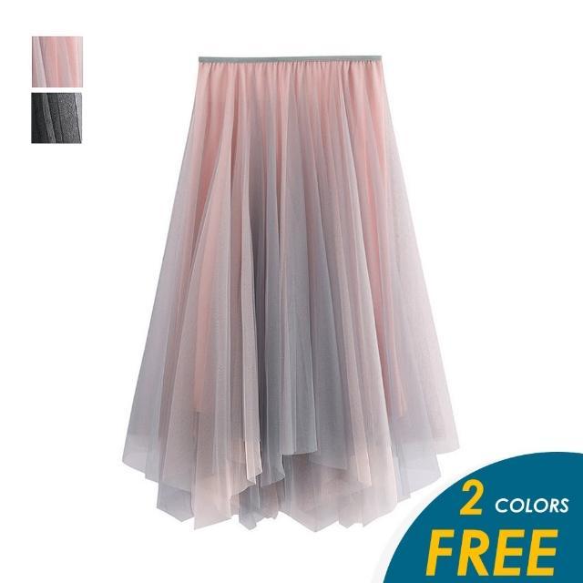 【CHACO】/現貨/ 韓系甜美雙色不規則傘狀網紗半身裙#8797(單一尺碼)