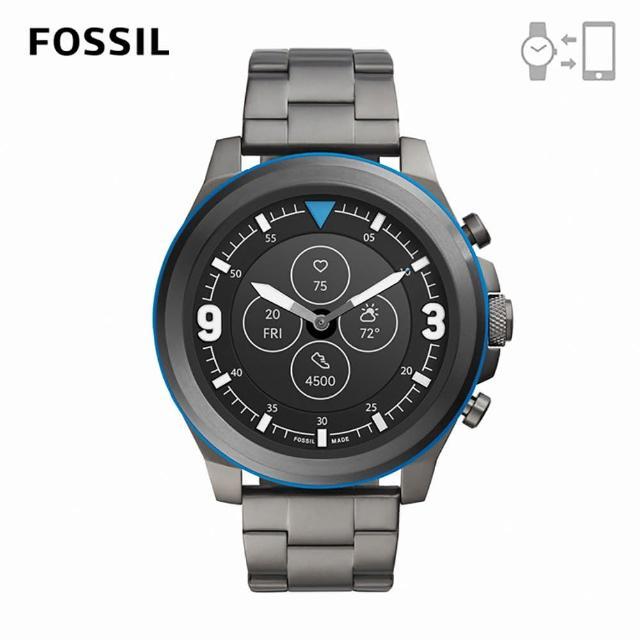 【FOSSIL】Hybrid HR 心律智能手錶 槍灰色不鏽鋼鍊帶 50MM FTW7022
