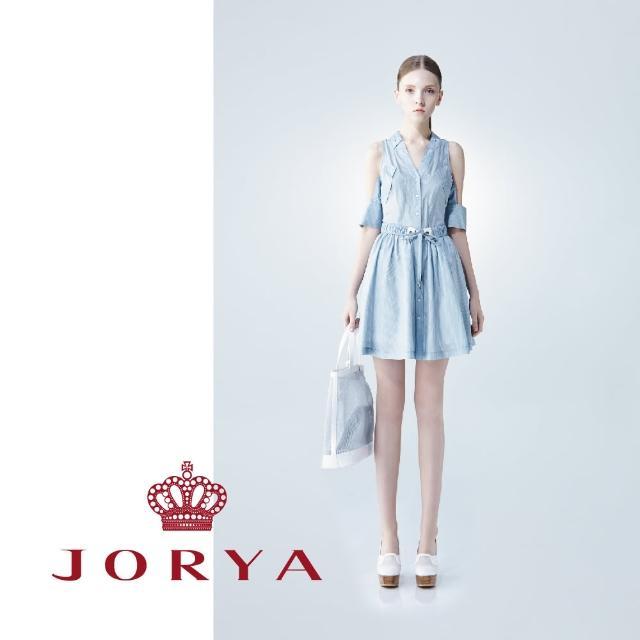 【JORYA】weekendG2202002細條紋V領露肩綁帶桑蠶絲連身洋裝