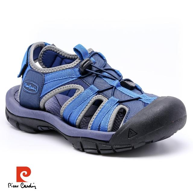 【pierre cardin 皮爾卡登】戶外休閒護趾男涼鞋-藍