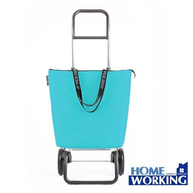 【ROLSER】西班牙RG摺疊兩輪肩背時尚購物車-藍綠(西班牙進口/輕巧時尚/順暢好推拉)