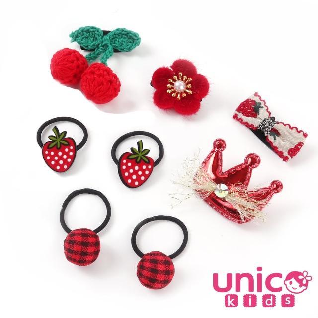 【UNICO】嬰兒少髮量寶寶紅色蕾絲皇冠甜甜造型汗毛夾髮夾髮圈/髮飾(飾品/配件/紅色/蕾絲/皇冠甜甜造型)