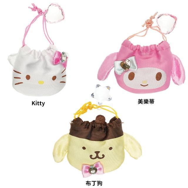 【TDL】日本進口HELLO KITTY凱蒂貓美樂蒂布丁狗水晶御守福袋飾品首飾收納束口袋 104639