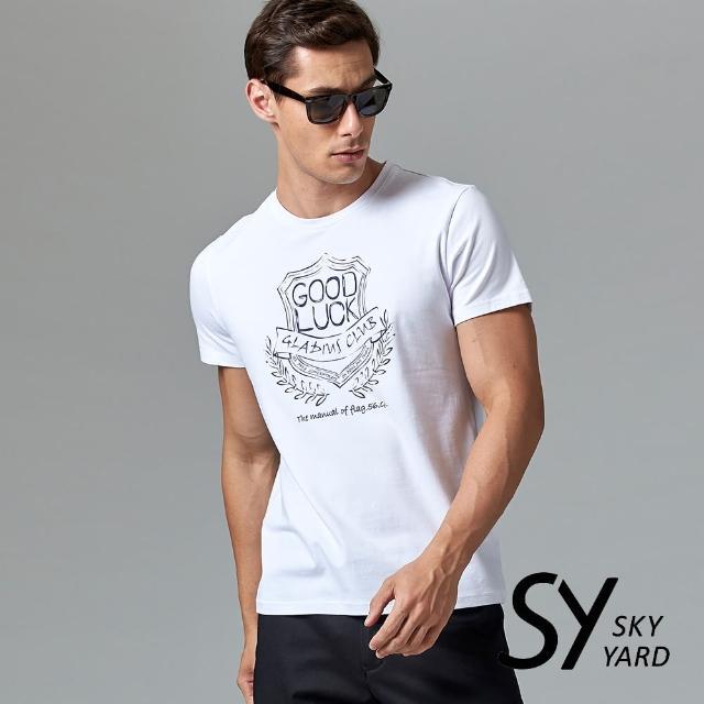 【SKY YARD】短袖圓領GOOD LUCK美式印花圓領T恤(白色)