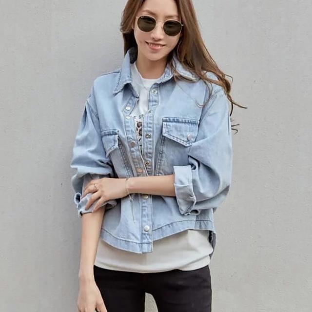 【M select】正韓 女款 淺藍 牛仔短版外套