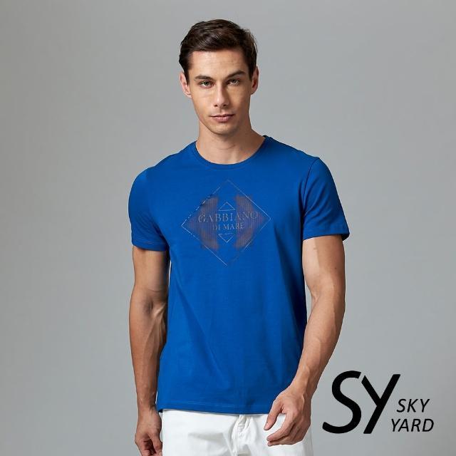 【SKY YARD】短袖圓領幾何印花圓領T恤(藍色)