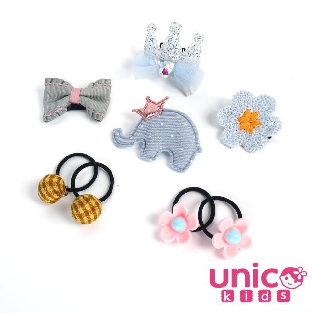 【UNICO】嬰兒少髮量寶寶甜美藍大象小花造型汗毛夾髮夾髮圈/髮飾(飾品/配件/藍大象/小花造型)