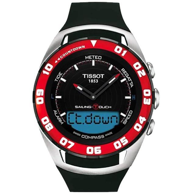 【TISSOT 天梭】Sailing Touch 風帆專業觸控腕錶-黑x紅框/45mm(T0564202705100)