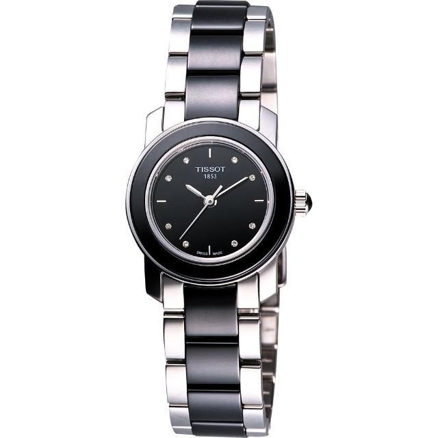 【TISSOT 天梭】T-Cera 陶瓷系列真鑽腕錶-黑(T0642102205600)