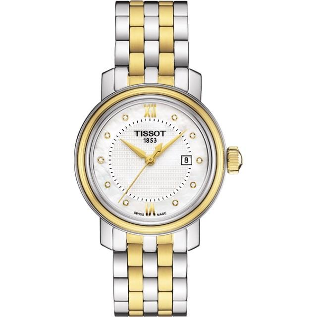 【TISSOT 天梭】Bridgeport 寶環系列真鑽石英女錶-珍珠貝x雙色版(T0970102211600)
