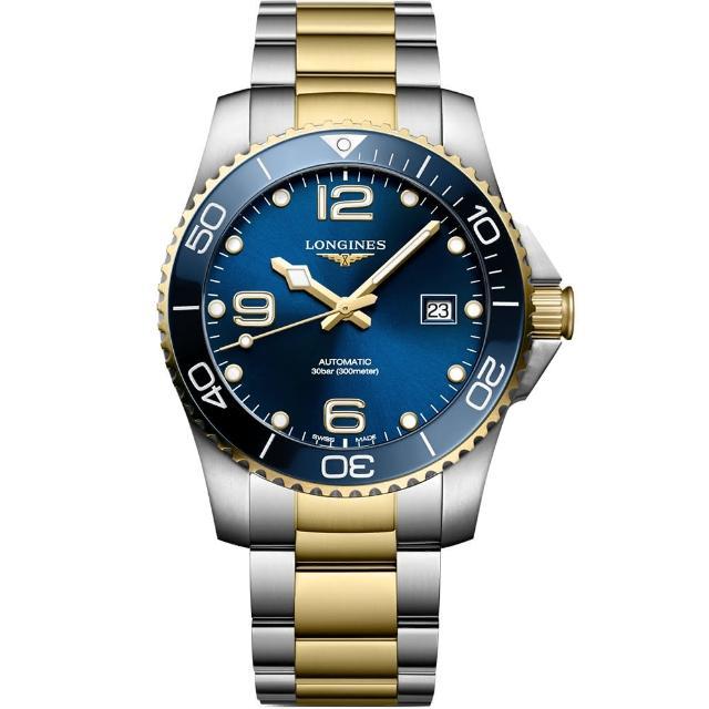 【LONGINES 浪琴】深海征服者浪鬼陶瓷潛水機械錶-藍x金/41mm(L37813967)
