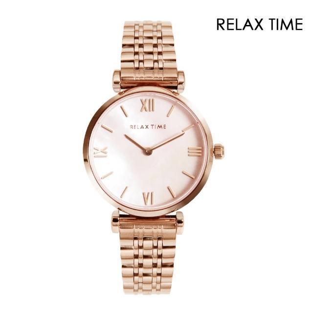【Relax Time】經典玫瑰金系 白貝殼面 不鏽鋼錶帶(RT-75-1)
