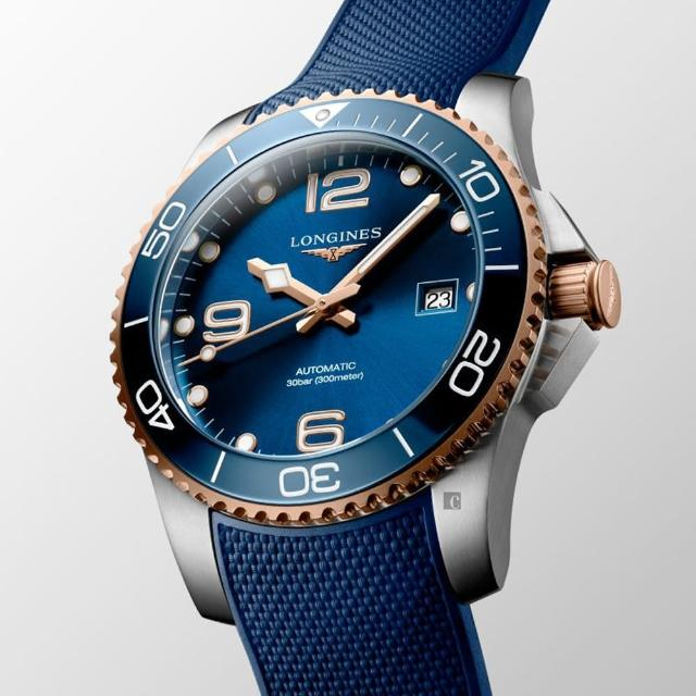 【LONGINES 浪琴】深海征服者浪鬼陶瓷潛水機械錶-藍x玫瑰金/41mm(L37813989)
