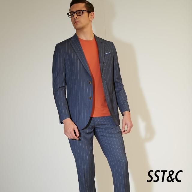 【SST&C】海軍藍直條紋修身西裝褲0212104007
