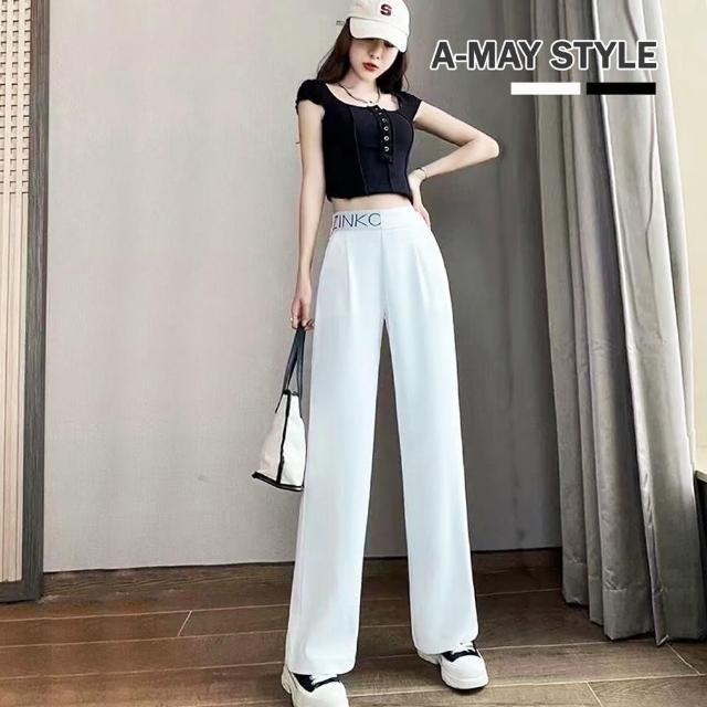 【Amay Style 艾美時尚】寬褲 高腰 顯瘦 字母休閒落地長褲(2色.預購)