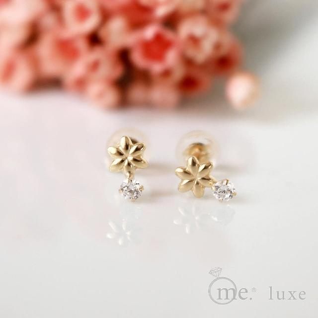 【me.luxe】K10針18鋯石花朵耳環(日本輕珠寶網路銷售NO.1)