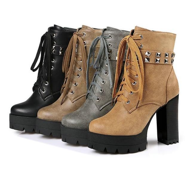 【Sp house】個性鉚釘帥氣復古刷舊粗高跟短靴鞋(4色可選)