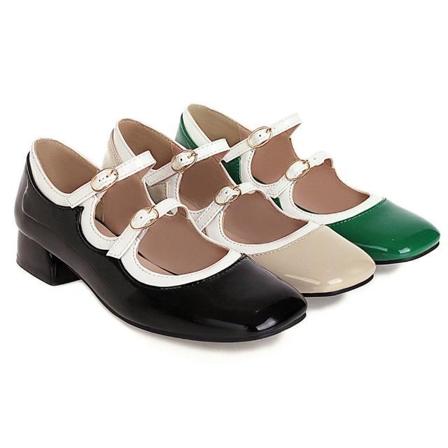 【Sp house】精靈泡泡粗跟甜美漆皮豆豆娃娃鞋(3色可選)