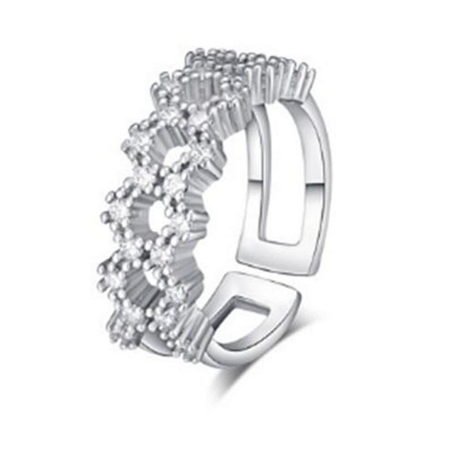【米蘭精品】925純銀戒指鑲鑽銀飾(耀眼迷人O型鏤空情人節生日禮物女飾品73dx17)